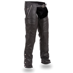 Leather Motorcycle Riding Chaps (2 pairs)