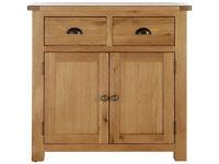 Fully assembled Kent 2 Door 2 Drawer Sideboard - Solid Oak & Oak Veneer