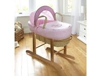 Beautiful baby little rocker Moses basket crib and white rocking stand with fitted sheets free