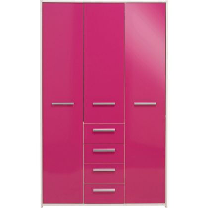 New Sywell 3 Door 4 Drawer Wardrobe - White and Pink Gloss
