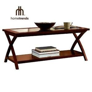 NEW HT GLASS TOP COFFEE TABLE HOMETRENDS - CHERRY FINISH GLASS TOP COFFEE TABLE 104871096