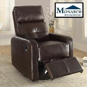 NEW MS RECLINER SWIVEL GLIDER - 118787093 - BONDED LEATHER DARK BROWN MONARCH SPECIALTIES
