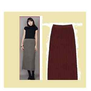 Burgandy sweater stretch knit mid-calf skirt,size S