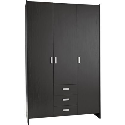 New Capella 3 Door 3 Drawer Wardrobe - Black Effect