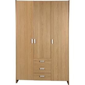 New Capella 3 Door 3 Drawer Wardrobe - Oak Effect
