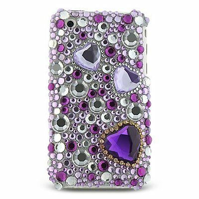 Bling Rhinestone Protector Case for Apple iPhone 3G/3GS - Purple Heart ()