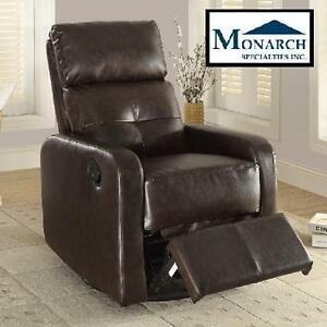NEW MS RECLINER SWIVEL GLIDER - 110050530 - BONDED LEATHER DARK BROWN