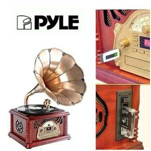 NEW PYLE TURNTABLE PHONOGRAPH PTCDCS3UIP 243567225 PORTABLE VINTAGE VINTAGE STYLE RETRO 3 SPEED
