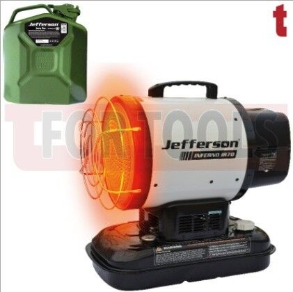 JEFFERSON INFRARED SPACE HEATER 70,000BTU HEATER THERMOSTAT DIRECT AIR IR70 20.5KW + JERRY CAN