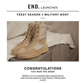 Yeezy Season 3 Military Boots - Rock - UK Size 9. Bought from E.N.D. Now Sold Out