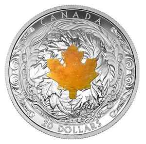 2016 SILVER MAPLE LEAVES WITH DRUSY STONE COIN West Island Greater Montréal image 1