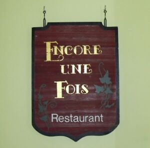 Large CARVED WOOD RESTAURANT HANGING OUTDOOR TRADE SIGN