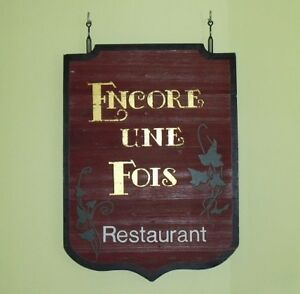 CARVED WOOD RESTAURANT HANGING OUTDOOR TRADE SIGN