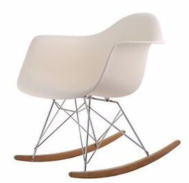 Beige Eames-inspired rocking chair - like NEW!