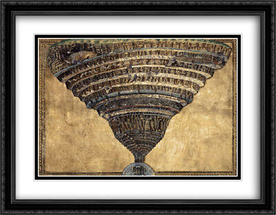 The Abyss of Hell 2x Matted 36x28 Large Framed Art Print by Botticelli, Sandro