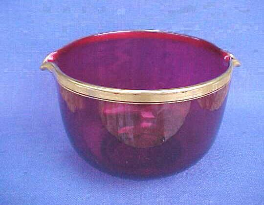 ANTIQUE VICTORIAN ERA CRANBERRY GLASS WINE RINSER POLISHED PONTIL DOUBLE LIP
