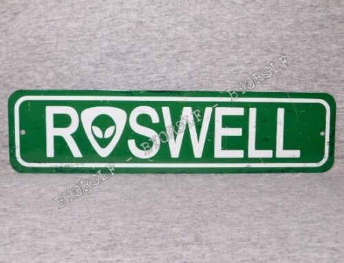 Metal Sign ROSWELL New Mexico UFO incident flying saucer crash alien spacecraft
