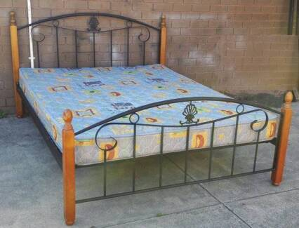 metal and timber frame queen bed and mattress
