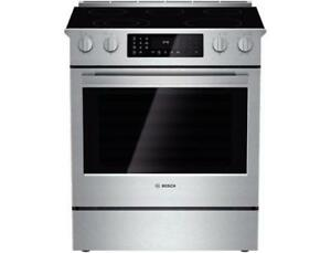 """Bosch HEI8054C 800 Series 30"""" Stainless Steel Electric Slide-in Range with Convection and Self Clean"""