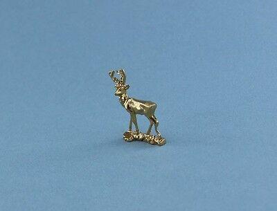 Fabulous Dollhouse Miniature Brass/Gold Colored Deer Figurine/Statue #JLM217