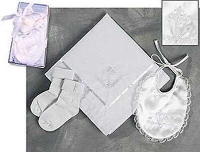 Infant Baptismal Set NEW (PS823) Gift Boxed, Bib, Socks, Blanket