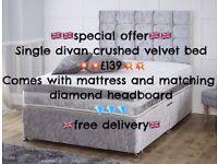 crushed velvet divan set