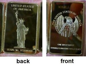 24K .999 GOLD INGOT BAR ONE TROY OUNCE AMERICAN LIBERTY EAGLE HIGH QUALITY