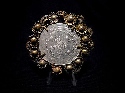 GORGEOUS ANTIQUE 1800s. HUGE SILVER COIN AND FILIGREE PENDANT!!!