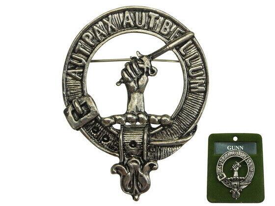 "2"" Scottish NEW Scotland Crest Pin Badge: GUNN Clan Badge"