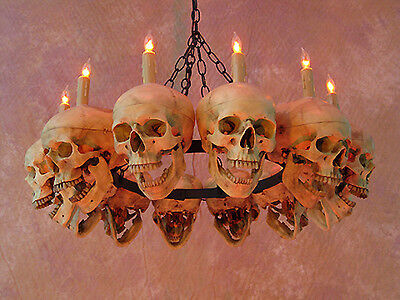 Life-Size Skull Chandelier w/ 12 Skulls, Halloween Prop, Human Skeletons, NEW](Halloween Skeletons Life Size)