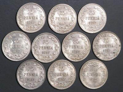 FINLAND 1917S 25 Pennia Silver UNC - 10 Coins