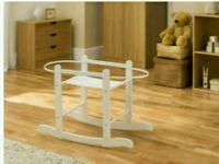 Kinder valley white Rocking moses basket stand : brand new in sealed boxes. Fits all moses baskets.
