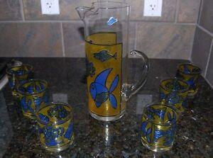 West Virginia Stained Glass Glazed Tumblers and Pitcher
