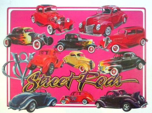 Ford Street Rod Hand Drawn Illustration Poster FoMoCo