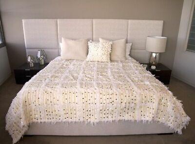 Handmade Moroccan Wedding Handira Blanket with Metal Sequins BEST QUALITY