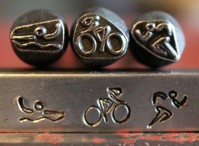 Supplyguy 8mm Swim Bike Run Metal Design Stamp Set-3 Piec...