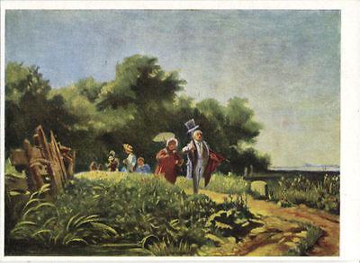 Alte Kunstpostkarte - Der Sonntagsspaziergang von Carl Spitzweg