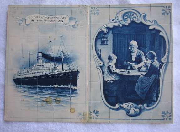 ROTTERDAM (Holland America) 1912 Steamship Menu - Exceptional Covers