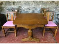 **£95** Vintage Solid Oak Dining Table and 4 Chairs