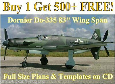 """Dornier Do335 83"""" WS Giant Scale RC Airplane Plans&Templates on CD in PDF Format"""