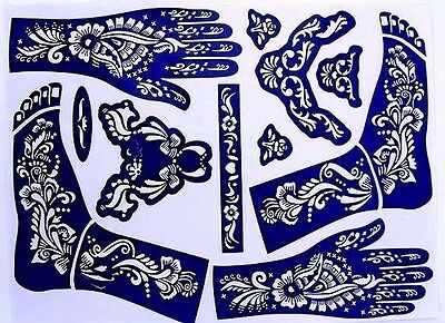 1 XXL Henna Schablonen Vorlage  Airbrush Tattoo Stencils Hand fuss bollywood