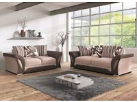 AMAZING BLACK/GREY OR BROWN/BEIGE! Brand New Shannon Fabric+Leather Corner or 3 + 2 seater sofa -