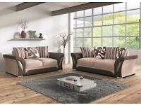 PREMIUM QUALITY -- Brand New Shannon Corner or 3 and 2 seater sofa set black/grey or brown/beige