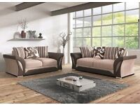 **SAME DAY FAST DELIVERY** BRAND NEW SHANNON CHENILLE FABRIC + LEATHER CORNER OR 3 AND 2 SEATER SOFA