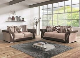 SAME DAY FAST DELIVERY- NEW SHANNON CORNER SOFA OR 3+2 SOFA BLACK/GREY BROWN/BEIGE -- BIG SALE ON --