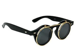 60s-Inventor-Sunglasses-FLIP-UP-Clear-w-Dark-Lenses-round-circle-lennon-John