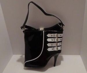 Rare and New Stiletto High Heel Handbag Black Faux Leather