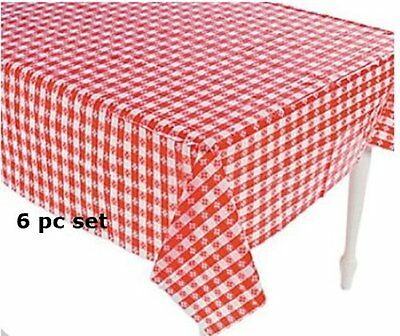 NEW 6 Plastic Red and White Checkered Tablecloths  6 Pc  Picnic Table Covers