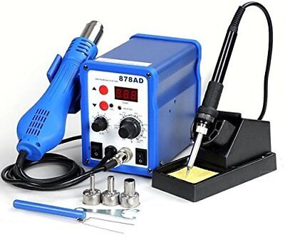 2 In1 Hot Air Rework Station Soldering Iron W 3 Nozzles Led Professional 878ad