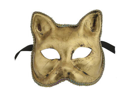 Mask from Venice Volto Wolf Civet Authentic Cat Golden Carnival 68